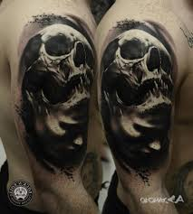 skull tattoo black and grey tattoo fantastic