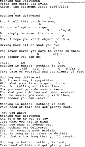 bob dylan song nothing was delivered lyrics and chords