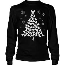 mickey mouse christmas tree sweater hoodie long sleevetee