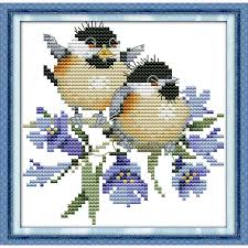the chatted birds on bluebell top counted cross stitch kit