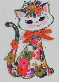60s flower kitty greeting card with ribbon cats u0027n kittens