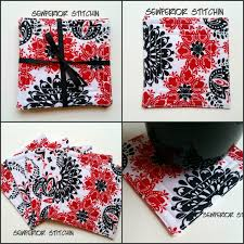 fabric drink coasters a great housewarming gift black white