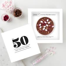 50th birthday card and chocolate treat by quirky gift library