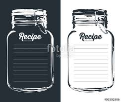 mason jar with hook recipe card and lines template vector design