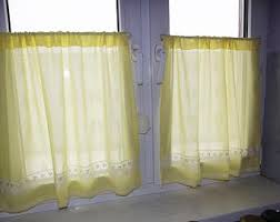 yellow lace curtains etsy