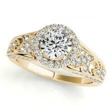 vintage halo engagement rings 0 41ctw lattice vintage halo engagement ring in 18k yellow