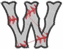 sports embroidery design baseball letter w from embroidery patterns