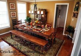 country style dining room matching farm style dining table and benches in knotty pine