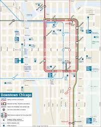 Map To Chicago by Downtown Chicago Rail Transit Map