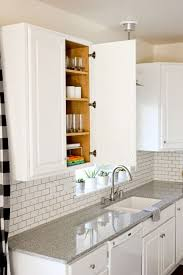 diy painting kitchen cabinets white with marble countertop also