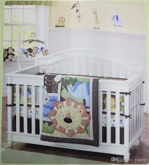british boys cot bedding sets african lion applique embroidery