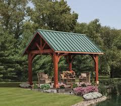 rustic pavilion patio transitional with backyard landscape teak