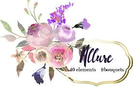 Watercolor Flowers - pink purple watercolor flowers set illustrations creative market