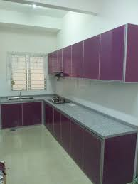 forward looking purple high gloss kitchen cabinet white backsplash