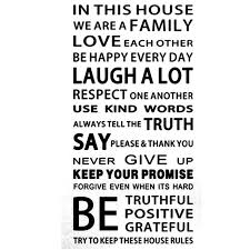 Family House Rules Famous Family House Rules English Proverbs Slangs Wall Stickers