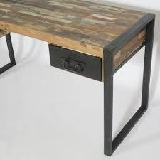 bureau en bois pas cher excellent bureau industriel pas cher meuble bois colore metal 02