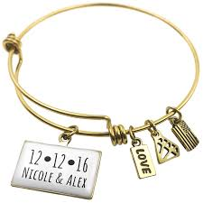 Personalized Bangle Bracelet Amazon Com Personalized Date With Heart And Names Expandable Wire