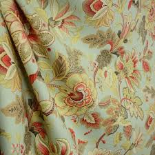 Linen Drapery Venezla Dew Green Red Taupe Jacobean Floral Linen Drapery Fabric