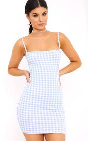 minnie dusty blue gingham bodycon dress dresses