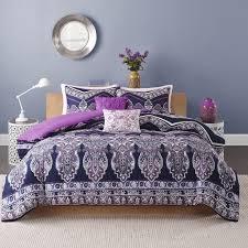 Purple Floral Comforter Set Amazon Com Intelligent Design Adley All Seasons Comforter Set