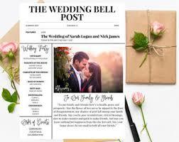 newspaper wedding programs wedding newspaper etsy