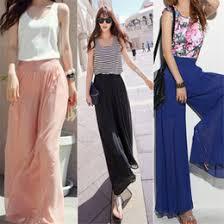 distributors of discount womens wide leg chiffon pants 2017