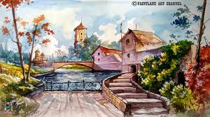 Color Painting by Landscape With Water Color Water Color Painting Speed Painting