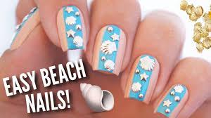 easy summer beach nail art diy nail design using studs