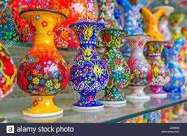 antalya turkey may 6 2017 the colorful vases with handmade