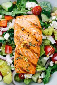 grilled salmon greek salad with lemon basil dressing jessica gavin