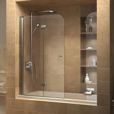 B Q Shower Doors by Dreamline Aqua Fold 56 60 In Width Frameless Hinged Tub Door 1