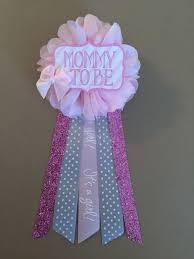 pink bow baby shower pin mommy to be pin flower ribbon pin