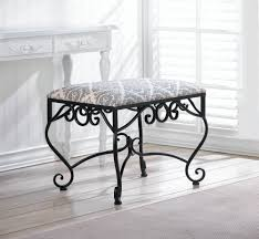wholesale wrought iron ottoman bench with damask pattern