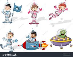 astronaut cartoon characters outer space suit stock vector