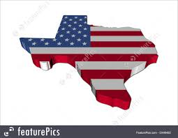 Texas Flag Image Texas Map Flag 3d Render Illustration