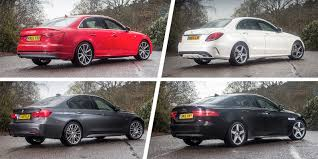 audi a3 vs bmw 3 series audi a4 vs mercedes c class vs bmw 3 series vs jaguar xe carwow