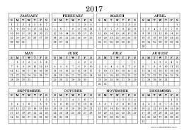 yearly calendar 2017 calendar 2017 printable