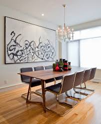 modern walnut dining with blue accents dining room contemporary