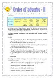 english teaching worksheets the order of adverbs