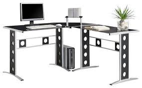 Black Glass L Shaped Computer Desk Coaster 3 Piece Computer Desk Black Silver Contemporary Desks