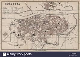 Zaragoza Spain Map by Zaragoza Antique Town City Plan Ciudad Spain Espana Murray 1898