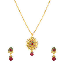 Buy Designer Gold Plated Golden Traditional Ethnic Gold Plated Golden Grace Pendant Set With Chain