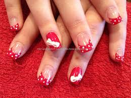 acrylic nails red tips how you can do it at home pictures