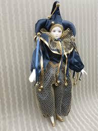 mardi gras doll vintage porcelain harlequin jester 17 doll mardi gras collectible
