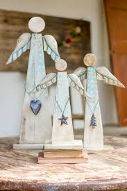 kalalou painted recycled wood angels on stand set of 3 angel
