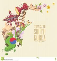 south korea travel vector poster with pagodas tradition clothes