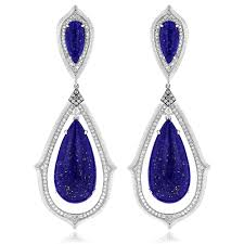 dimond drop 18k gold lazurite diamond drop earrings 1 12ct