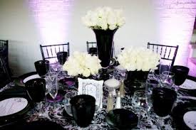 black and white centerpieces real wedding a modern black white and purple party