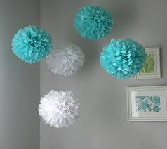 Bridal Shower Centerpiece Ideas by Tiffany Tissue Paper Poms Wedding Birthday Baby Shower