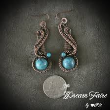wire earrings the faire waves of wisdom chrysocolla and copper wire
